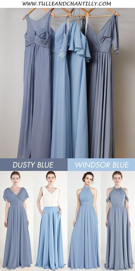 Windsor blue and dusty blue bridesmaid dress for wedding