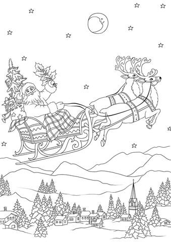 Santa Flying In His Sleigh Pulled By Reindeers At Night Coloring