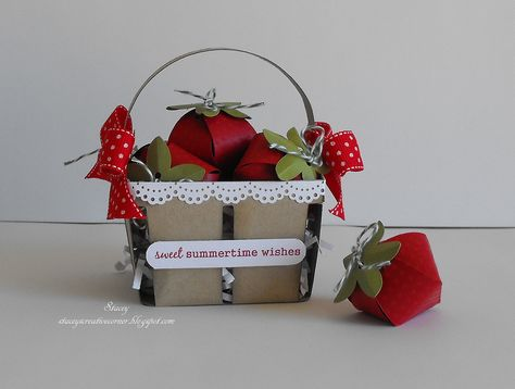 Spring Cottage Cricut Cartridge: basket filled with strawberries. Each strawberry is filled with Hersey Hugs.