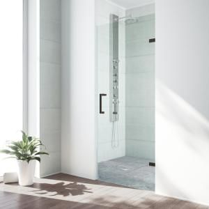 Aston Cascadia 23 In X 72 In Completely Frameless Hinged Shower Door In Stainless Steel With Clear Glass