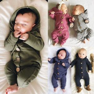 Newborn Baby Boys Girls Long Jumpsuit Romper Bodysuit Cotton Clothes Outfit Suit