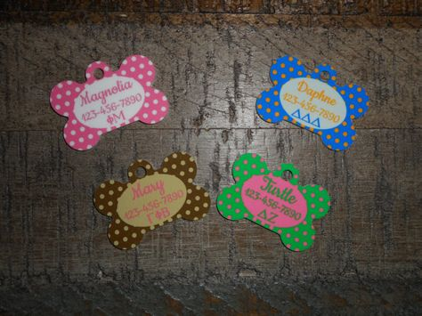"""Make sure everyone knows what Panhellenic Sorority your """"Fur Little"""" belongs to! Customized Pet tags!  www.etsy.com/listing/467755765/pet-tags-personalized-sorority"""