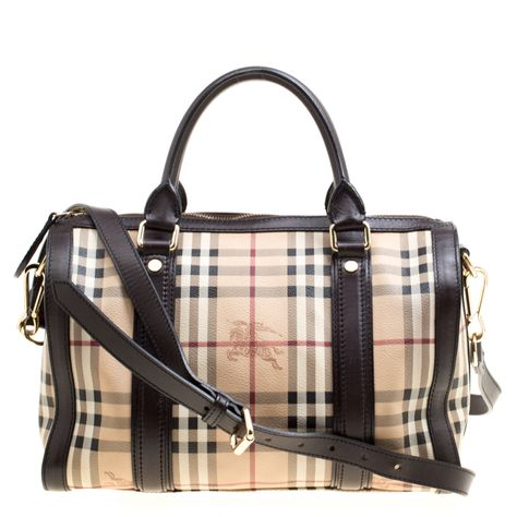 95368c368e5 Burberry Beige Brown Haymarket Check Canvas and Leather Alchester Bowler Bag