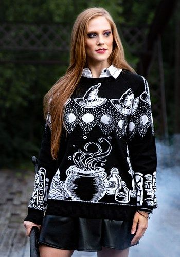 Ugly Sweater Halloween 2020 Witch Spellcraft and Curios Halloween Sweater for Adults in 2020