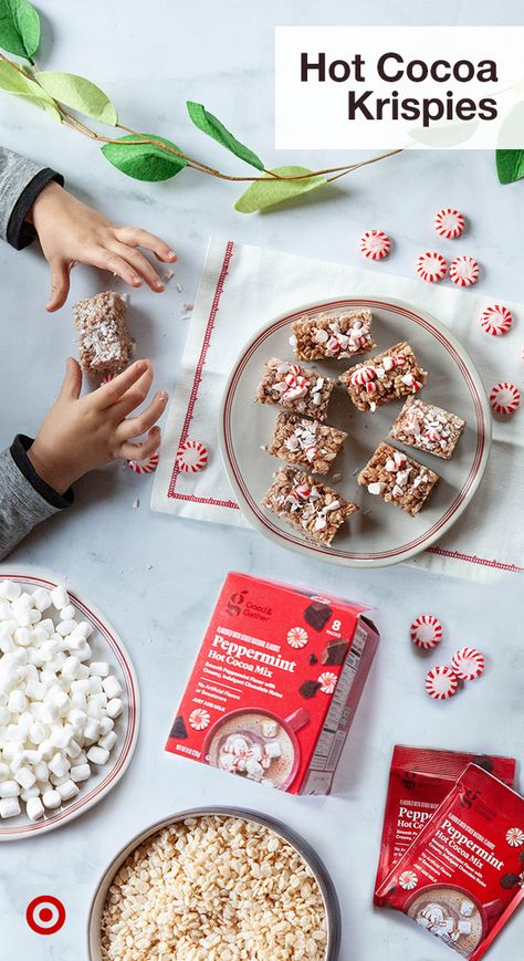 Rice krispies with a hot cocoa twist. Switch up your holiday baking with fun Christmas recipes, chocolate desserts  some hot cocoa on the side.