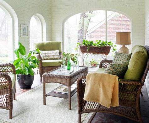 Choose sturdy furniture and accents in less temperate for Sunroom interior walls