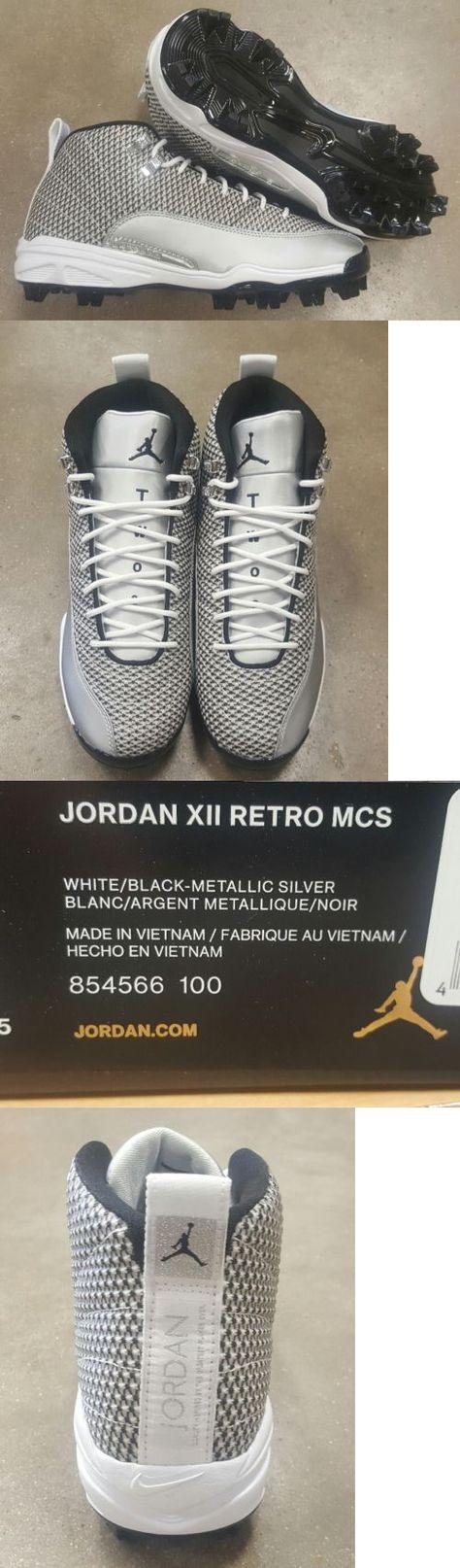 1b90e24d8c7 ... Mens 159059 Nike Air Jordan Retro 12 Xii Mcs Molded Baseball Cleats Silver  Black White Nwb ...