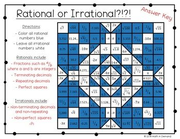 Rational Or Irrational Coloring Worksheet Free Math Lessons Middle School Rational Numbers Activities Real Numbers Activity