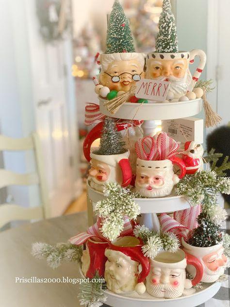 Priscillas: Vintage Santa Tiered Tray Christmas Porch, Christmas Mugs, 1st Christmas, All Things Christmas, Christmas Holidays, Christmas Decorations, Xmas, Christmas Ideas, Christmas Bells