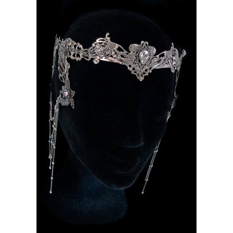 Elven Fairy Crown Circlet Tiara Crystal Diadem Medieval Fantasy... ($33) ❤ liked on Polyvore featuring accessories, hair accessories, tiara crown, crystal tiara, crystal bridal hair accessories, bridal hair accessories and bride hair accessories