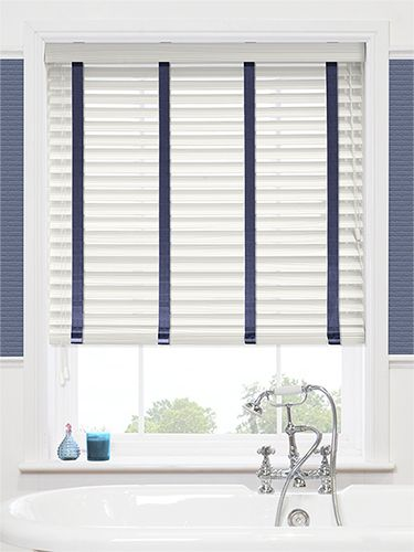 Bathroom Blinds Ideas calico cream & blue faux wood blind - 50mm slat | kitchen ideas