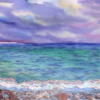 More Volnuetsya Akvarel Sea Waves Watercolor Watercolour