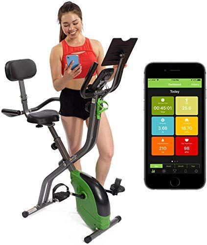 New Sharevgo Bluetooth Smart Folding Semi Recumbent Magnetic Upright Exercise Bike With Free App For Biking Workout Upright Exercise Bike Indoor Bike Workouts