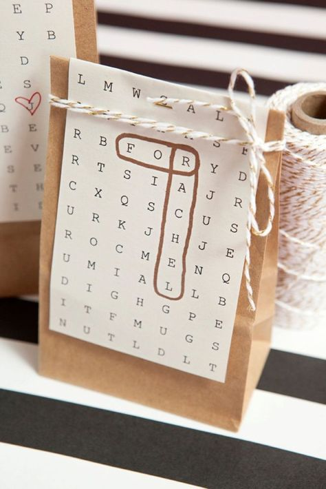 Awesome gift wrap idea using free, edit and print word search paper! #bestcraftideasawesome