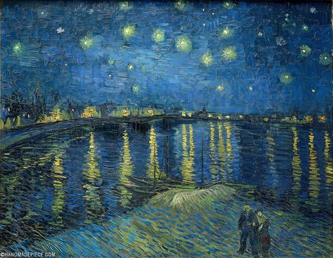 Vincent van Gogh - Starry Night Over the Rhone - Arles, 1888 at Musée d'Orsay Paris France Vincent Van Gogh, Gifts For Art Lovers, Lovers Art, Van Gogh Pinturas, Most Famous Paintings, Hipster Art, Van Gogh Paintings, Oil Painting Reproductions, Rhone