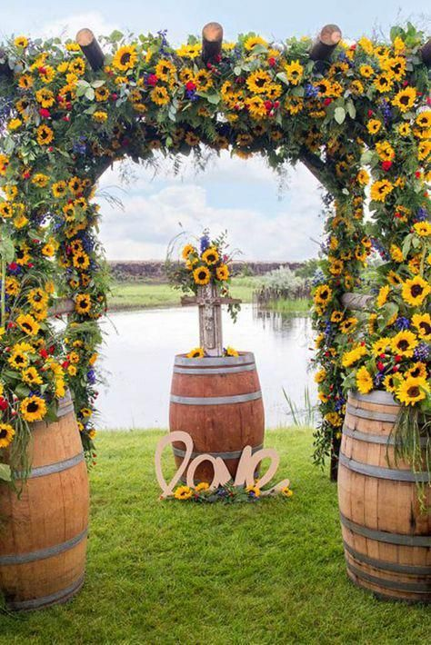 83 Sunflower Invitations and Ideas In Different Styles wedding arch 83 Sunflower Wedding Invitations and Ideas In Different Styles Sunflower Wedding Decorations, Sunflower Wedding Invitations, Wedding Flowers, Fall Sunflower Weddings, Yellow Wedding Decor, Wedding Ideas With Sunflowers, Farm Wedding, Rustic Wedding, Wedding Events