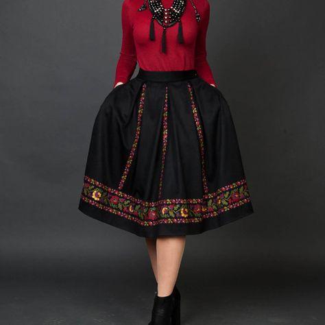 Black skirt warm skirt emboirdered skirt full flared skirt wool skirt skirt with pockets midi skirt
