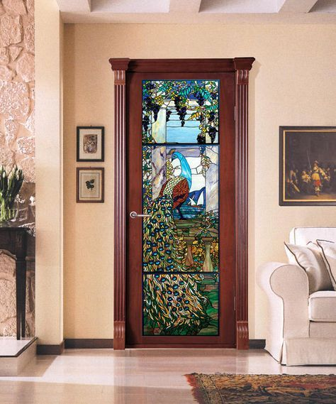 Vinyl Sticker Door With A Stained Glass Peacock Etsy Stained Glass Door Vinyl Doors Stained Glass