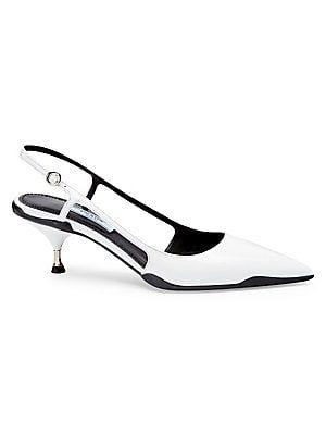 175daa77b201b Prada Kitten Heel Leather Slingbacks   Shoes in 2019   Kitten heels, Heels,  Shoes