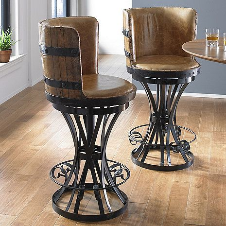 Tequila Barrel Stave Stool With Leather Seat Wine Barrel