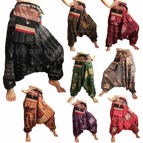 Womens Gypsy Hippie Aladdin Hmong Baggy Gray Patterned Harem Pants Boho Trousers