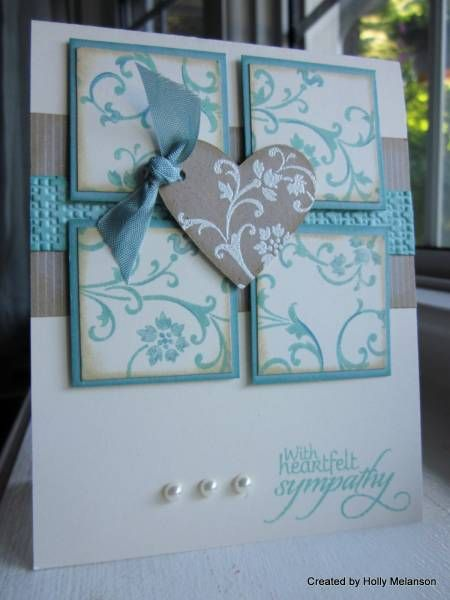 blue, gray, and white card  Gorgeous muted colors on this sympathy card