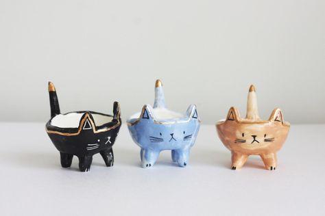 Suporte de vela de cerâmica / Suporte de vela de gato /   Etsy
