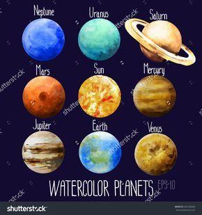Poster Solar System Sun 9 Planet Mercury Venus Earth Mars Jupiter Art Print 02