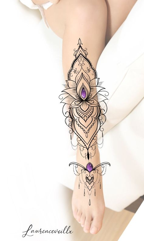 Ornemental Purple Lotus Tattoo Design @laurenceveillx