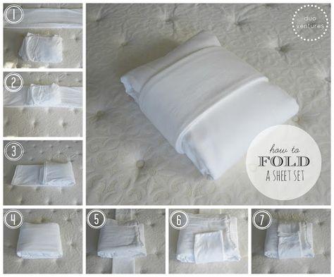 How to fold a sheet set. Duo Ventures: Organizing: The Linen Closet