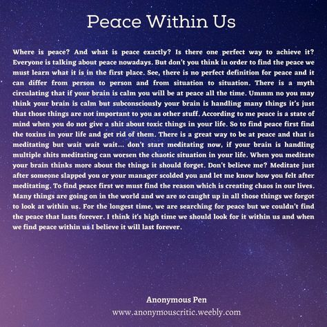 Weekly Dessert - Peace Within Us