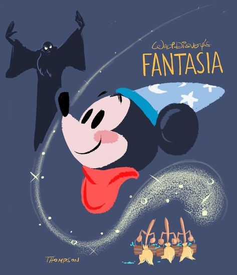 """Steven Thompson's Instagram post: """"Happy anniversary to """"Fantasia"""" which premiered on this date in 1940. ✨✍🏻🎨✍🏻✨A true masterpiece. #disney #animation #fantasia #sthompsonart"""""""