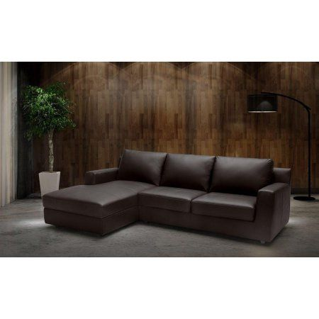 J Taylor Modern Premium Brown Italian Leather Sectional ...