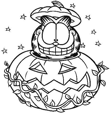 Garfield Halloween coloring page for you to color in and ...