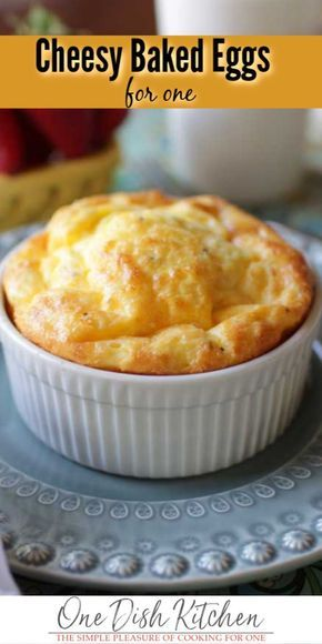 These Cheesy Baked Eggs are a great way to start the day! In this easy to make, single serving baked eggs recipe, two eggs are mixed with cream or milk, blended with cheese and seasonings and baked in Oven Baked Eggs, Baked Egg Cups, Bake Eggs In Oven, Easy Egg Bake, Breakfast Bake, Breakfast Dishes, Breakfast Casserole, Baked Egg Casserole, Egg Dishes For Brunch