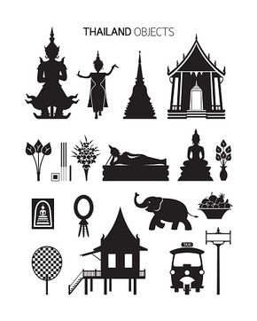 Vector Art Thailand Culture Objects Silhouette Set ภาพประกอบ