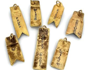 Word Charms, Upcycled Bullets, Rustic Brass, Accent Tags, Hand Stamped, Personalized Pendants, Fired Bullet Jewelry, Gun or Shooter Gift USA