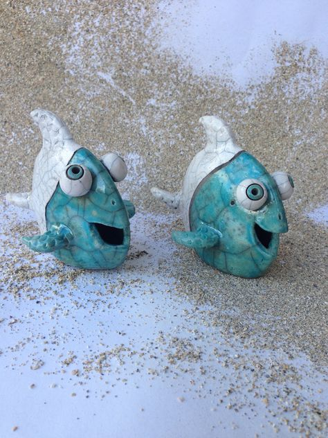 Turquoise Raku Pottery Hand Molded Funny Flounder Fish by TheSilverDoor on Etsy