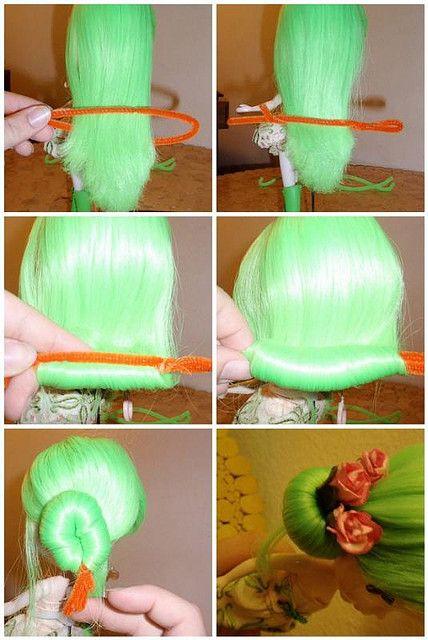 DIY doll hair bun