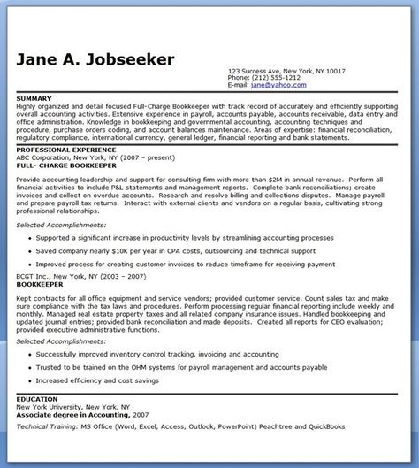 Bookkeeper Resume Cover Letter - http\/\/wwwresumecareerinfo - full charge bookkeeper resume sample