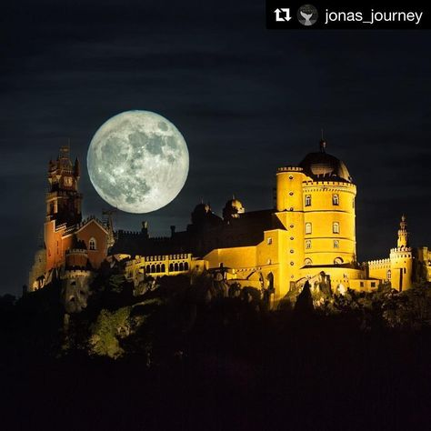 supermoon Pena Palace in Sintra with the...
