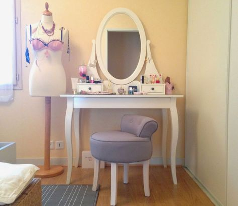 Fabrication du0027une coiffeuse Instructions 67 Pinterest Girls - meuble coiffeuse avec miroir pas cher