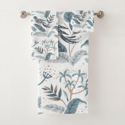 Vintage Jungle Tropical Brids And Flowers Bath Towel Set Zazzle