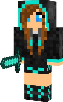 Girl with blue eyes and brown hair with teal and black jacket girl with blue eyes and brown hair with teal and black jacketshorts mand shoesholding a diamond sworda minecraft skin pinterest minecraft skins sciox Gallery