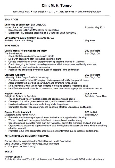 Therapist Counselor Resume Example  Resume Examples Counselling