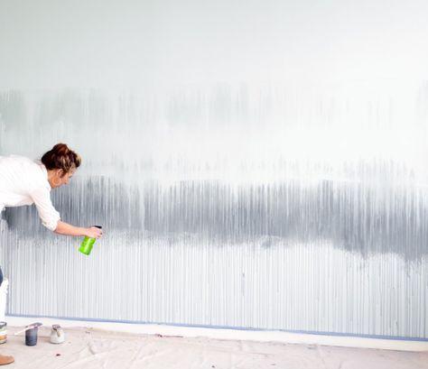Die Wandfarbe Mit Wasser Bespruhen Wandgestaltung Wandbild Wand