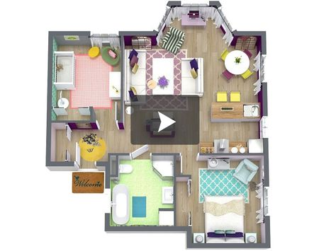 3D View From Above Of A House Floor Plan Decorating Pinterest - logiciel gratuit de plan de maison 3d