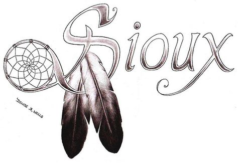 """Sioux"" Tattoo by Denise A. Wells including Dream Catcher and feathers"