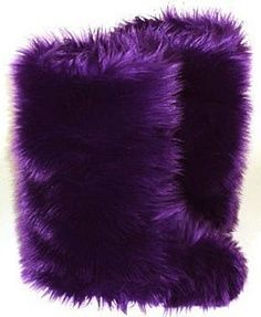 Purple Fuzzy Boots, I want these just so I can wear them to my preschool and see my kids reactions.
