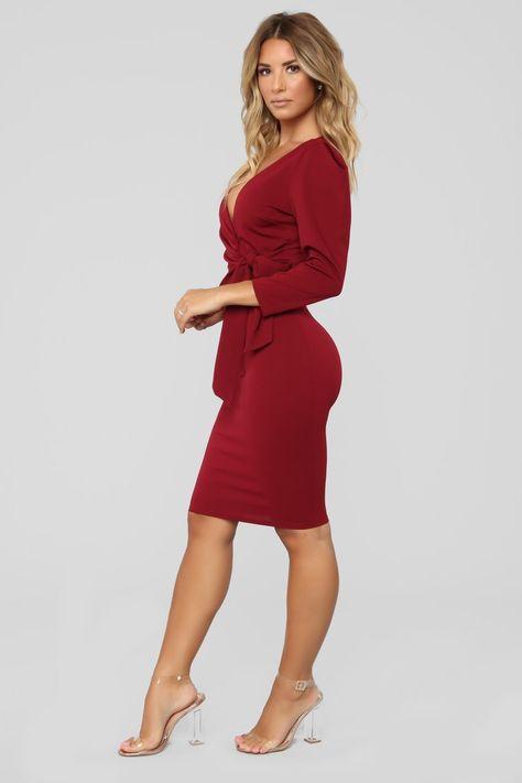 Can't Get Enough Dress - Burgundy